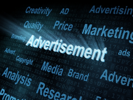 pixeled: Pixeled word Advertisement on digital screen 3d render Stock Photo