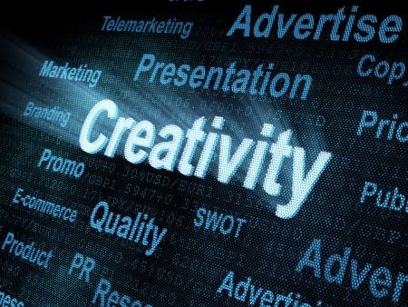 Pixeled word Creativity on digital screen 3d render Stock Photo - 13884090