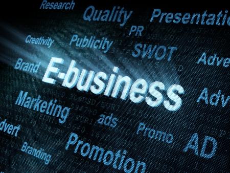 pixeled: Pixeled word E-business on digital screen 3d render