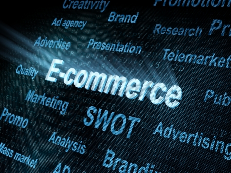 pixeled: Pixeled word E-commerce on digital screen 3d render Stock Photo