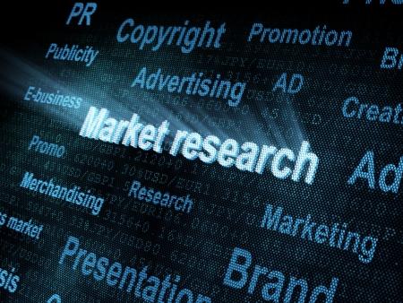 pixeled: Pixeled word Market research on digital screen 3d render
