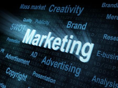 Pixeled word Marketing on digital screen 3d render photo