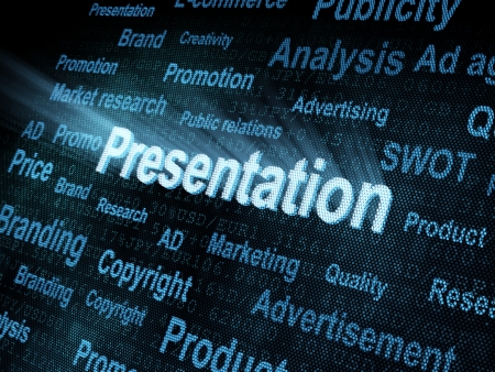 Pixeled word Presentation on digital screen 3d render photo
