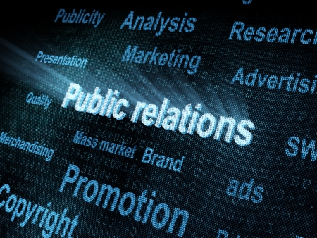 pixeled: Pixeled word Public relations on digital screen 3d render Stock Photo