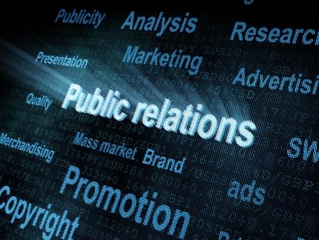 relations publiques: Relations publiques sur pixeled mot num�rique render �cran 3d Banque d'images