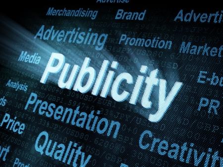 publicity: Pixeled word Publicity on digital screen 3d render