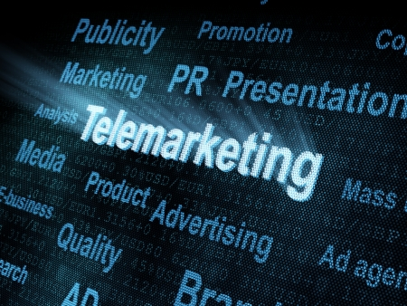 pixeled: Pixeled word Telemarketing on digital screen 3d render Stock Photo