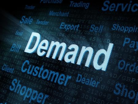 on demand: Pixeled word Demand on digital screen 3d render
