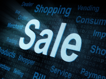 Pixeled word Sale on digital screen 3d render   photo