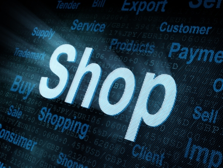 Pixeled word Shop on digital screen 3d render   photo