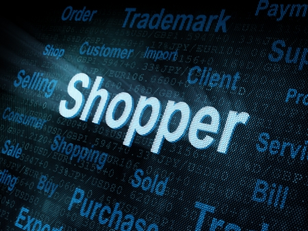 Pixeled word Shopper on digital screen 3d render   photo