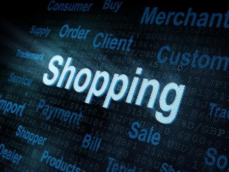 Pixeled word Shopping on digital screen 3d render   photo
