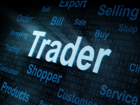 pixeled: Pixeled word Trader on digital screen 3d render   Stock Photo