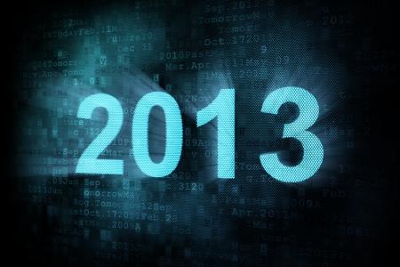 cronologia: Concepto de l�nea de tiempo: la palabra pixelado 2013 en la pantalla digital, 3d Foto de archivo