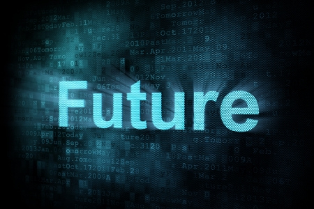 pixeled: Timeline concept: pixeled word Future on digital screen, 3d render Stock Photo