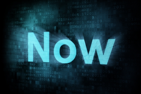 pixeled: Timeline concept: pixeled word Now on digital screen, 3d render