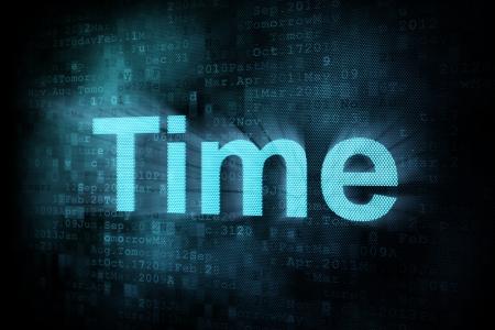 pixeled: Timeline concept: pixeled word Time on digital screen, 3d render