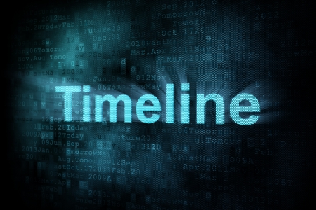 cronologia: Concepto de l�nea de tiempo: Cronograma palabra pixelado en la pantalla digital, 3d