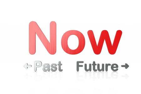 chronology: Palabra pasado-futuro-ahora aisladas sobre fondo blanco