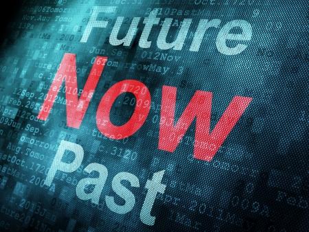 chronologie: Concept de sc�nario: Pass� mot pixeled Maintenant avenir sur l'�cran num�rique, rendu 3d