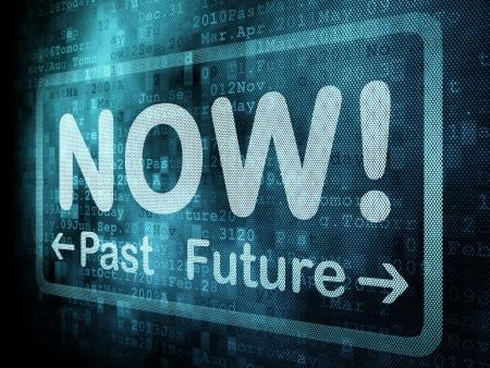 Concepto de l�nea de tiempo: Pasado palabra pixelado Ahora el futuro en la pantalla digital, 3d Foto de archivo