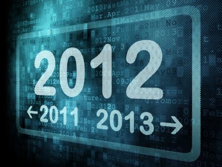 Concepto de l�nea de tiempo: la palabra pixelado 2011 2012 2013 en la pantalla digital, 3d Foto de archivo - 13931476
