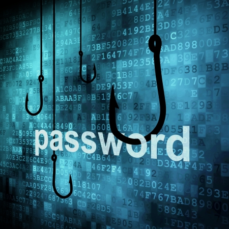 secret password: The word password hooked by fishing hook, information security concept  Stock Photo