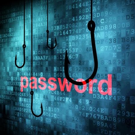 La palabra clave enganchado por el gancho de pesca, el concepto de seguridad de informaci�n