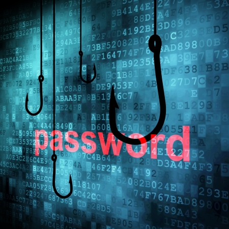 The word password hooked by fishing hook, information security concept Stock Photo - 13931441