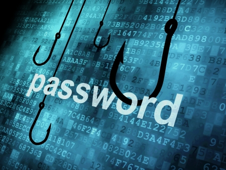 hacking: La password parola agganciato dal gancio di pesca, concetto di sicurezza informazioni