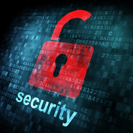 Security concept: Lock on digital screen, contrast, 3d render Stock Photo - 13931460
