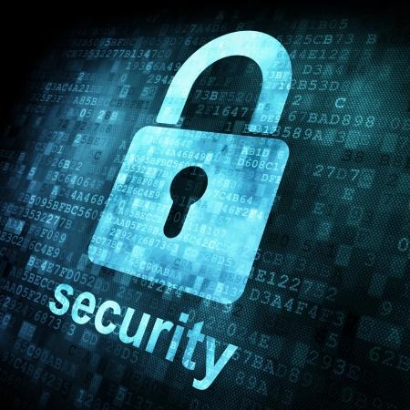 contrase�a: Concepto de seguridad: Bloqueo en la pantalla digital, el contraste, 3d Foto de archivo