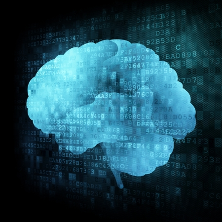 encephalon: Brain on digital screen, 3d render Stock Photo