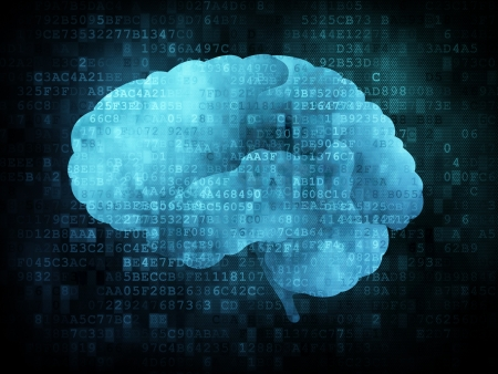 Brain on digital screen, 3d render Stock Photo - 13931424