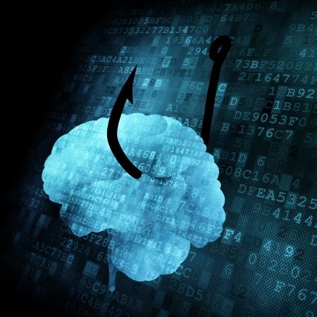 Hooked Brain on digital screen, 3d render photo