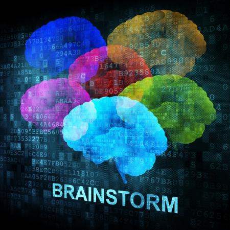 Brainstorm on digital screen, 3d render photo
