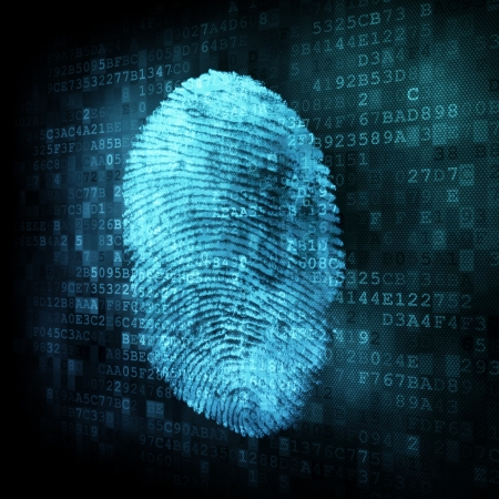 Fingerprint on digital screen, 3d render photo
