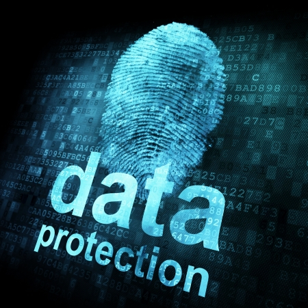 Fingerprint and data protection on digital screen, 3d render photo