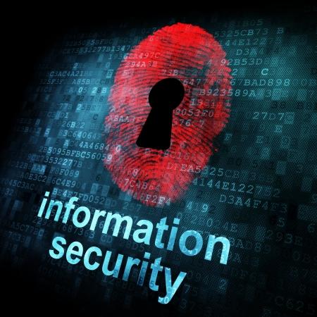 thumb print: Fingerprint and information security on digital screen, 3d render Stock Photo