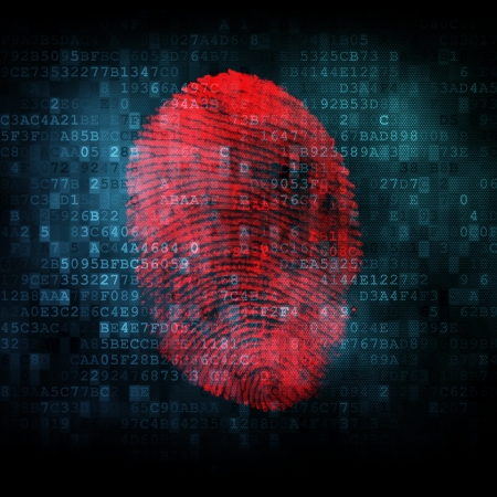 odcisk kciuka: Fingerprint na cyfrowym ekranie, 3d render