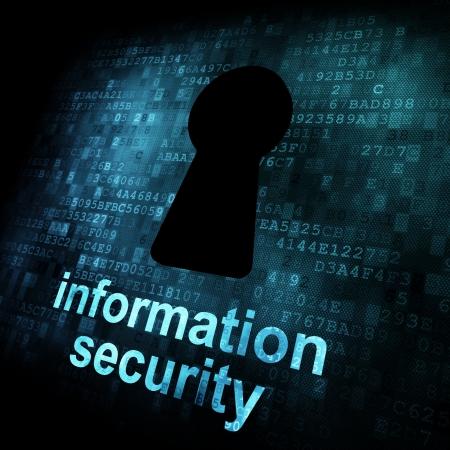 Concept de sécurité: Keyhole sur écran digital, contraste, rendu 3D Banque d'images