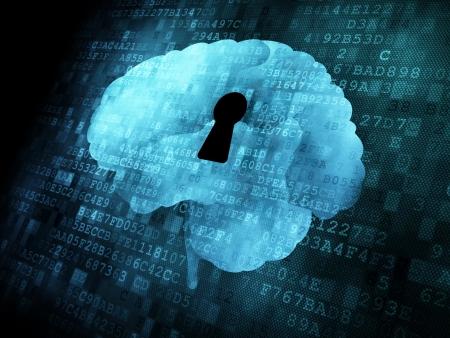 El cerebro con ojo de la cerradura en la pantalla digital, 3d