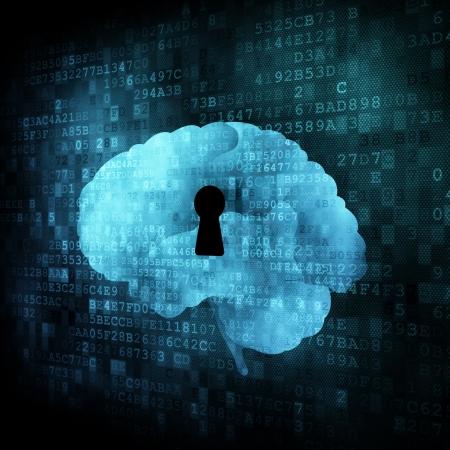 brain storm: Brain with keyhole on digital screen, 3d render