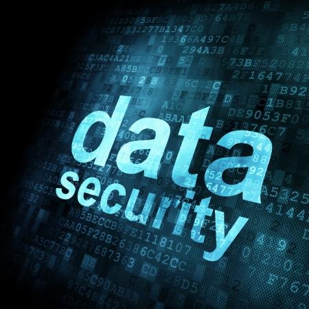 Concepto de seguridad: Los datos sobre la pantalla digital, el contraste, 3d