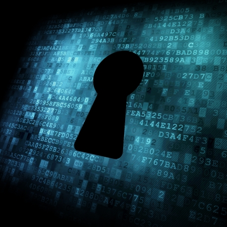 encryption: Security concept: Keyhole on digital screen, contrast, 3d render Stock Photo