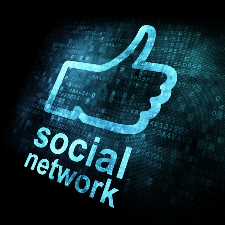 Like + social network on digital screen, 3d render photo
