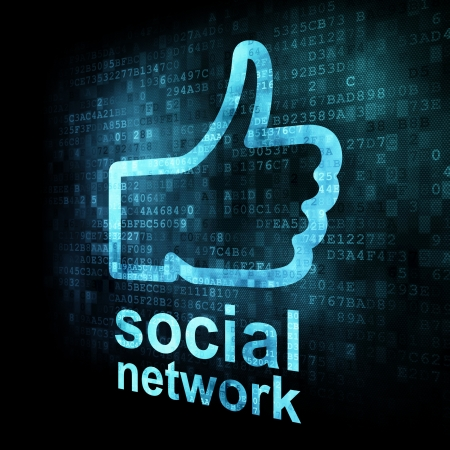 Like + social network on digital screen, 3d render Stock Photo - 13931443