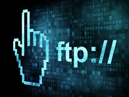 Cursor+ftp on digital screen, 3d render Stock Photo - 13931425