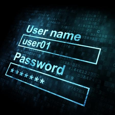 computer software: Security conceprt: Login form on digital sreen, 3d render