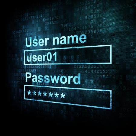 Seguridad conceprt: formulario de inicio de sesi�n en sreen digitales, 3d Foto de archivo